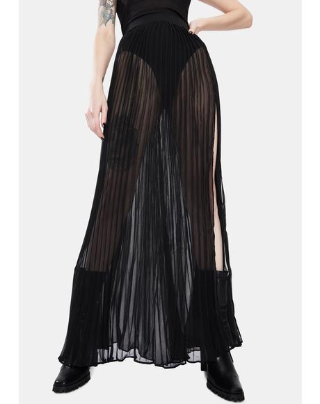 Under the Dark Pleated Tulle Midi Skirt