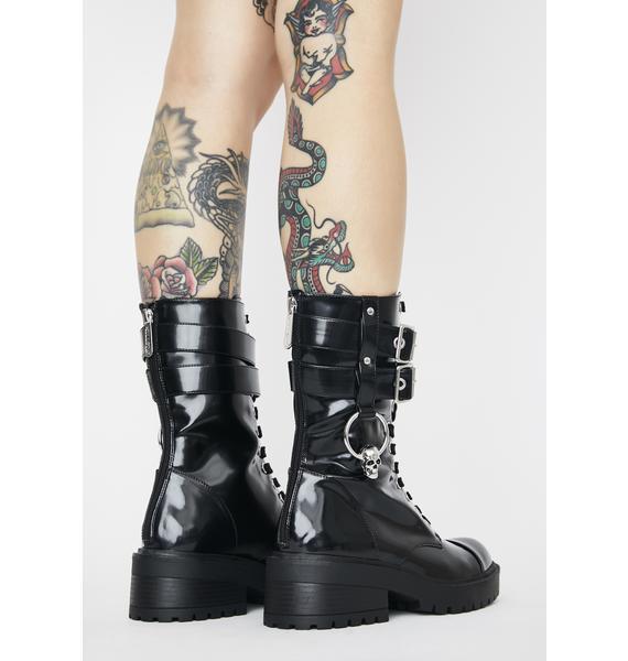 Killstar Bone O-Ring Combat Boots