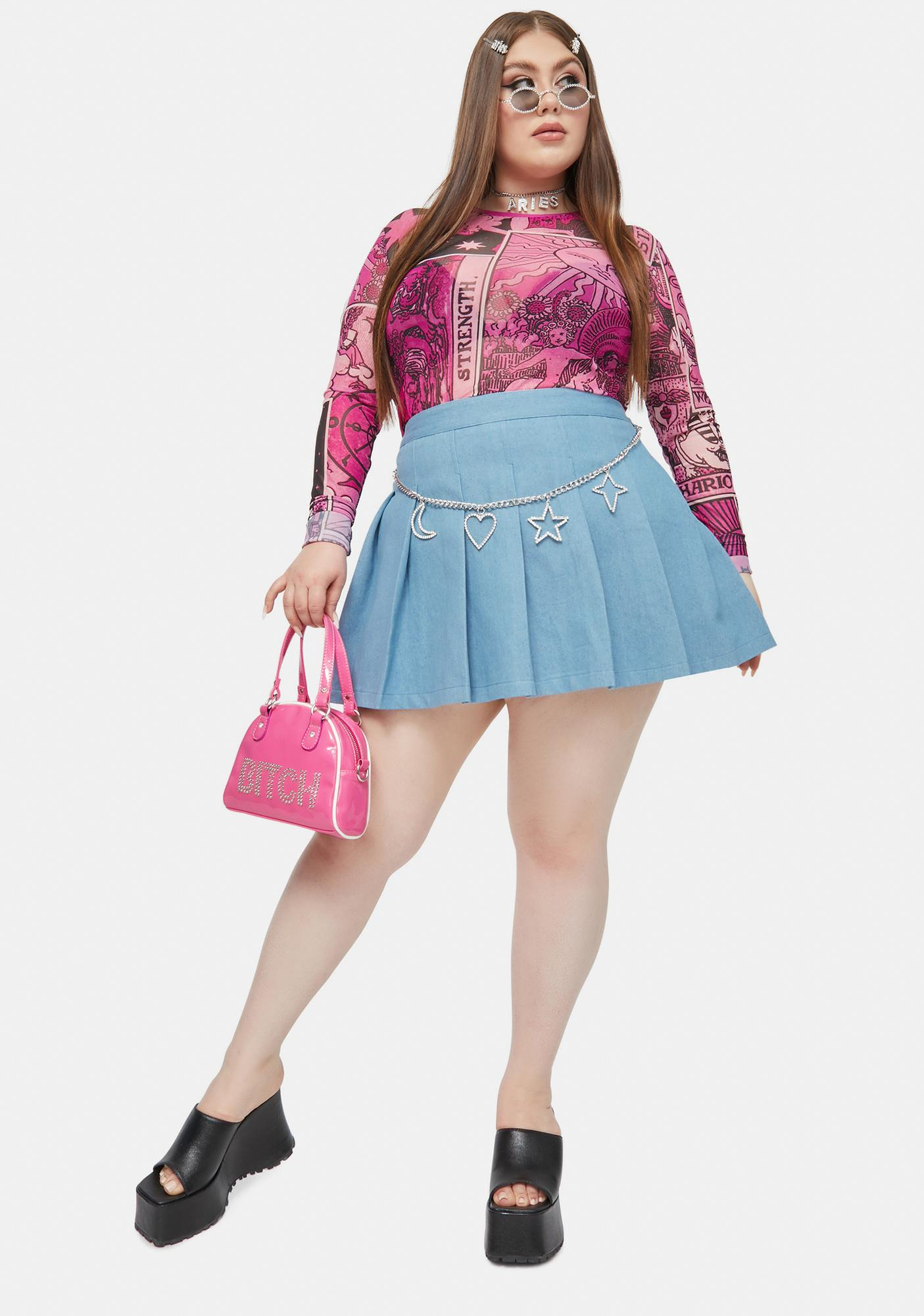 HOROSCOPEZ Endless Positive Energy Denim Pleated Skirt