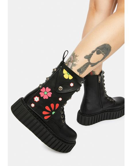 Flower Print Chunky Creeper Holster Boots