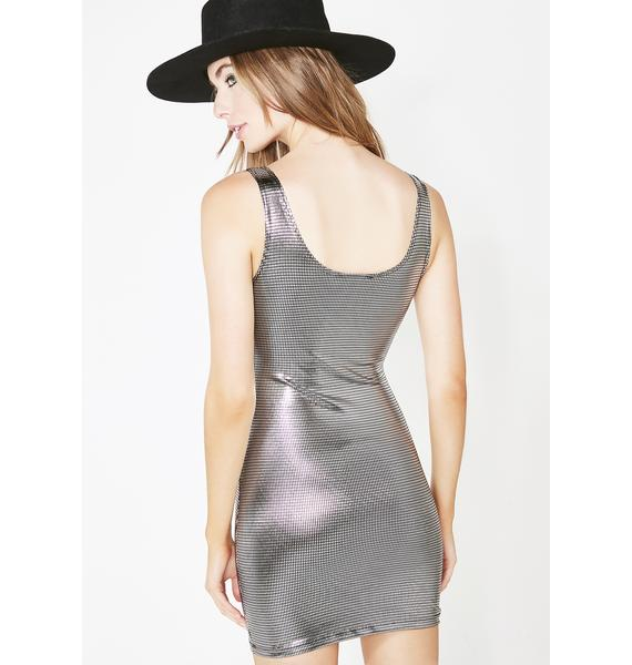 Metallic Butterfly Cut Out Dress