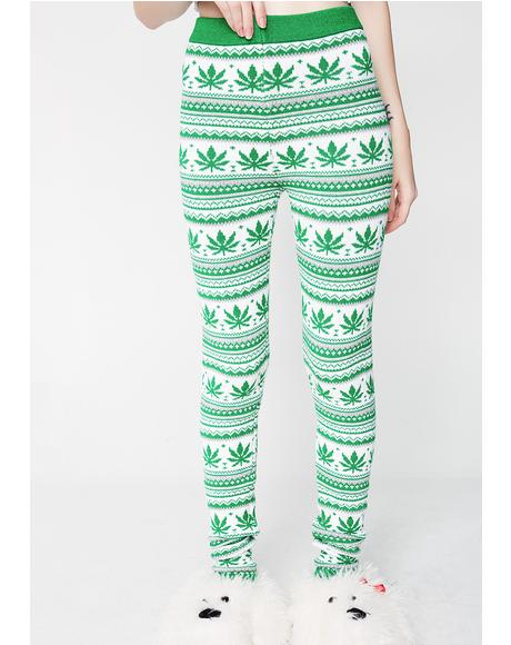 Christmas Weed Leaf Leggings