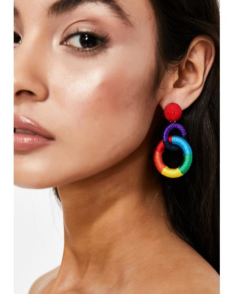 Double Rainbow Hoop Earrings