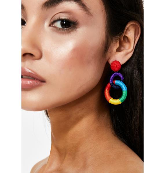 Double Rainbow Hoop Earrings