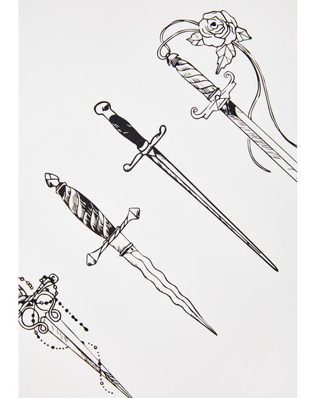 Dagger Temporary Tattoo Set