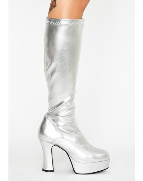 Chrome She's Scary Sexxxy Patent Boots