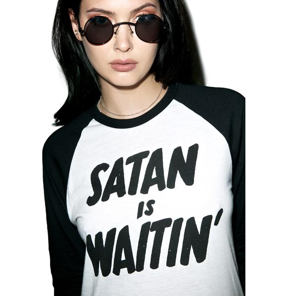 Creep Street Satan Is Waitin Baseball Raglan