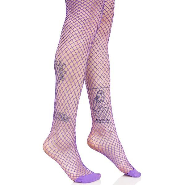 Violet Bold Move Fishnet Tights