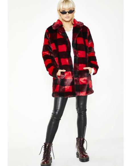 No Values Faux Fur Jacket