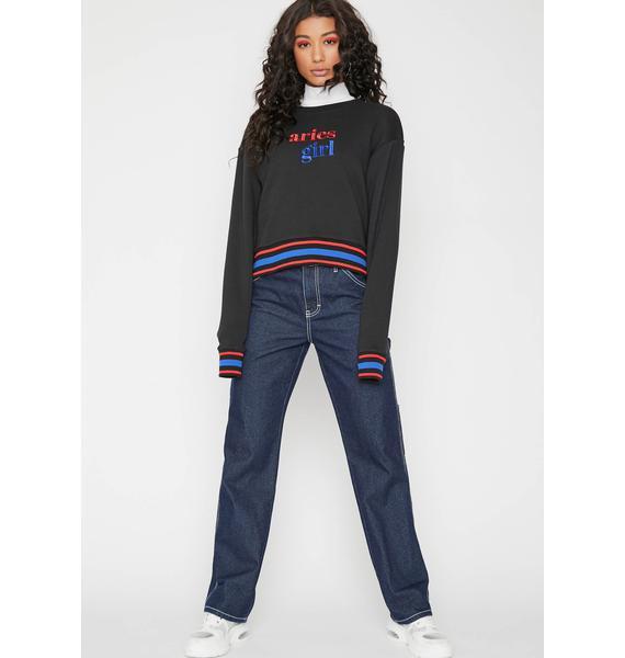 HOROSCOPEZ Lil Miss Aries Stripe Sweatshirt