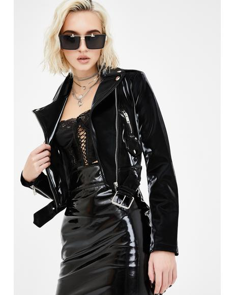 Diamond In The Ruff Latex Moto Jacket
