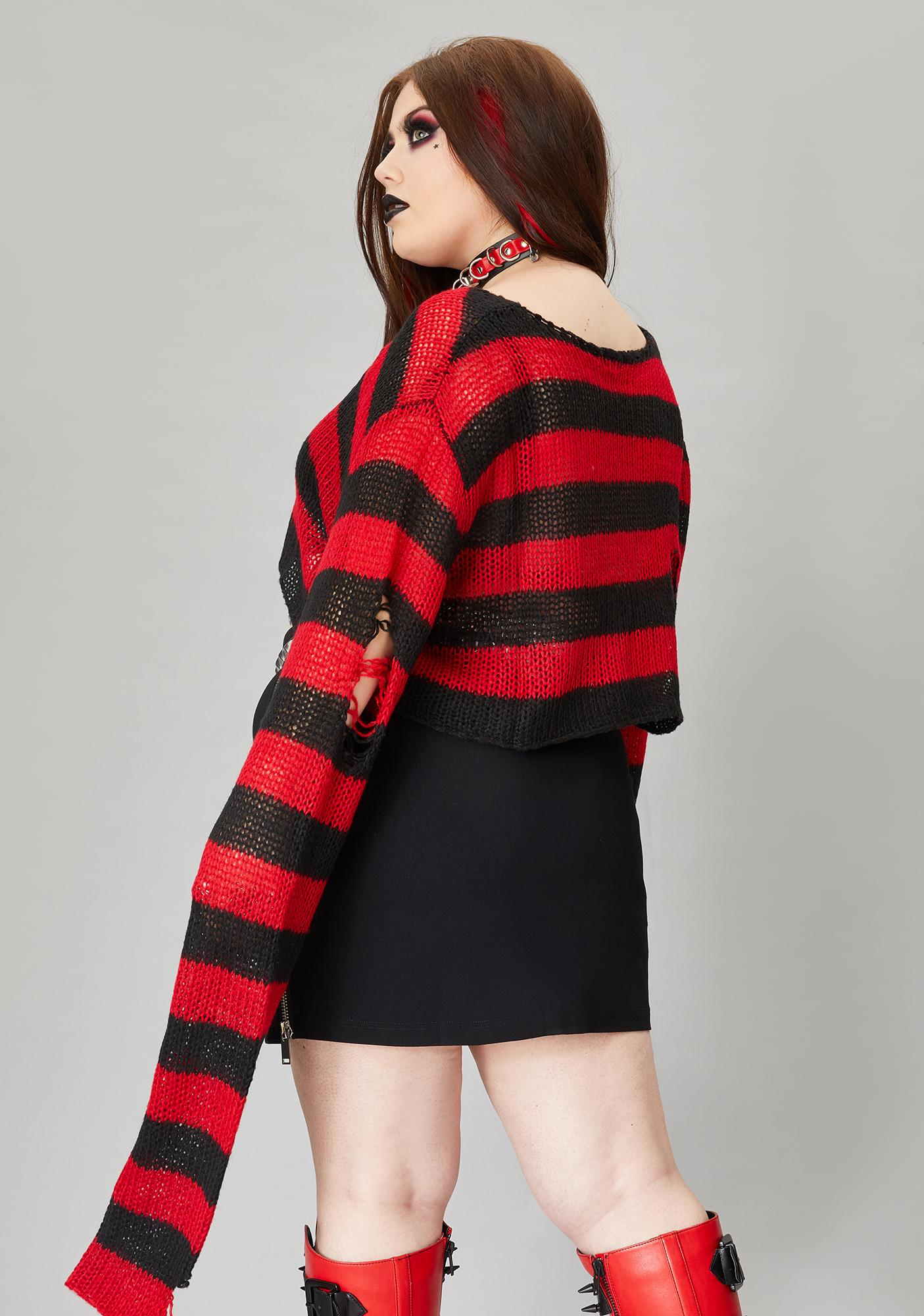 Widow Sinful Wicked Super Creep Striped Sweater