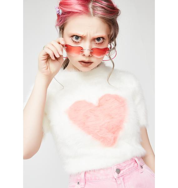 Lazy Oaf Fluffy Heart Knit Top