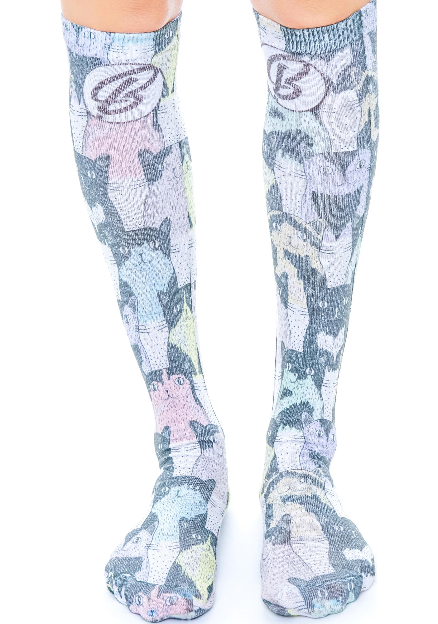 Doodle Cats Knee High Socks