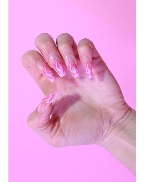 x Alice MC Pink Flames False Nails