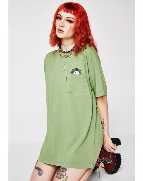 Olive Cat Nip Pocket Tee