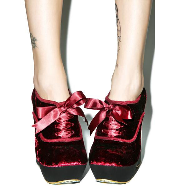 Irregular Choice Glissade Ballerina Wedges in Burgundy
