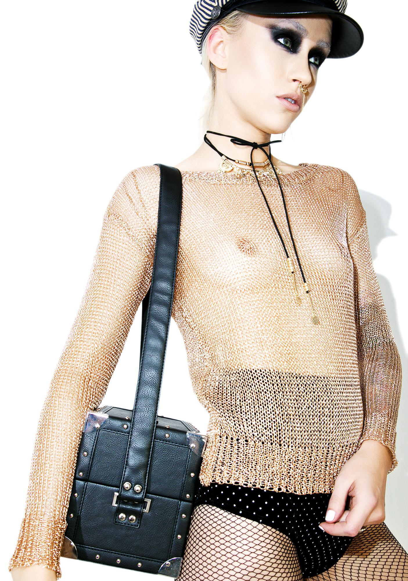 Glamorous Golden Arrow Sheer Sweater