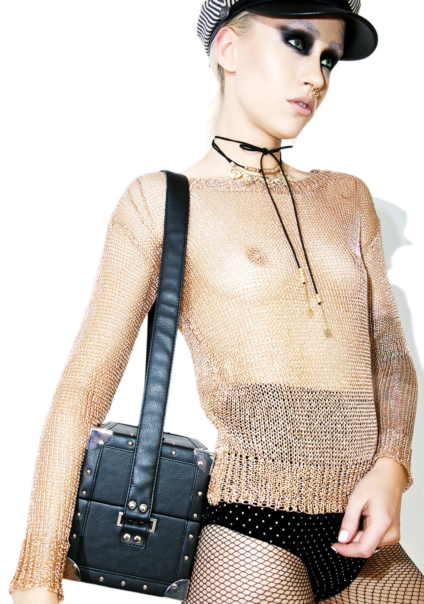 Glamorous Golden Arrow Sheer Sweater