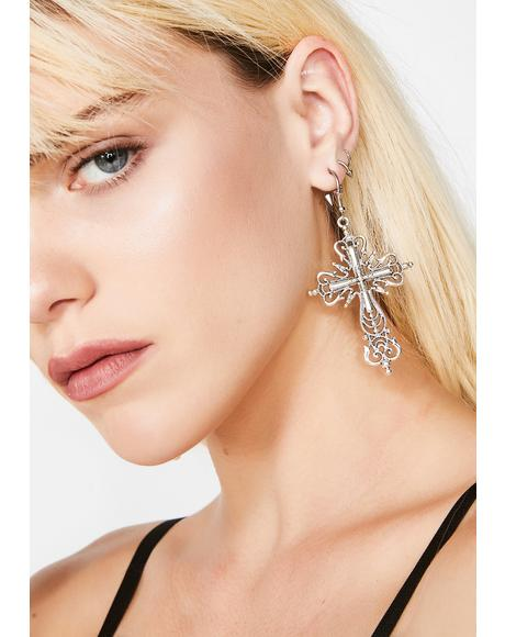 Higher Power Cross Earrings