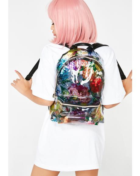 Clear Floral Backpack