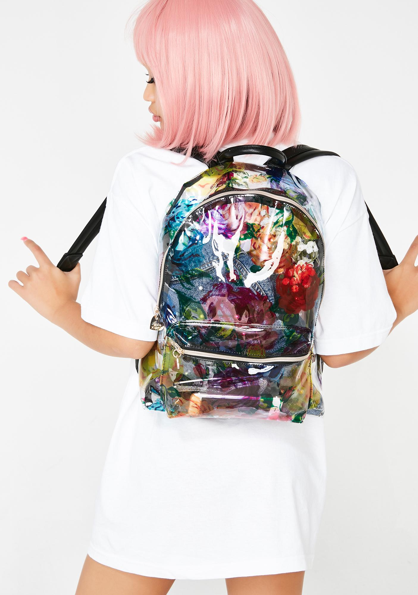 4aff865e5359 Betsey Johnson Clear Floral Backpack | Dolls Kill