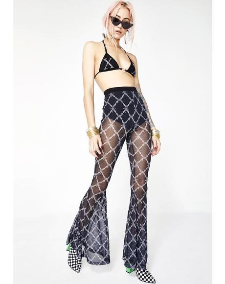 Barbwire Mesh Flared Pants