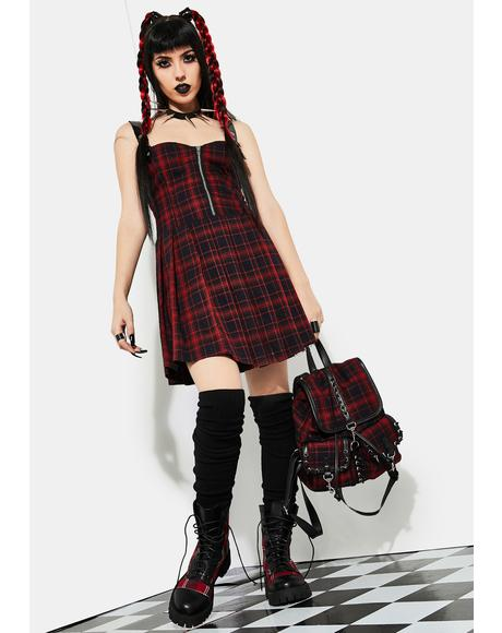 Born To Burn Plaid Mini Dress