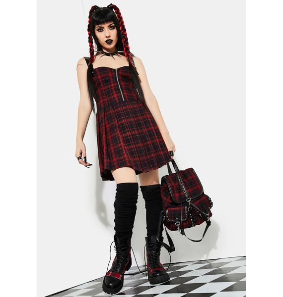 Current Mood Born To Burn Plaid Mini Dress