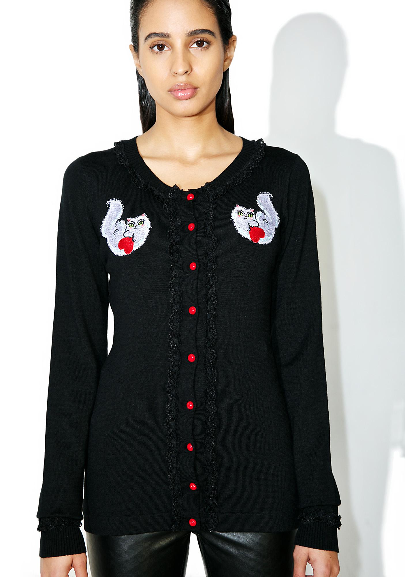 Sourpuss Clothing Cat Lady Lace Cardigan