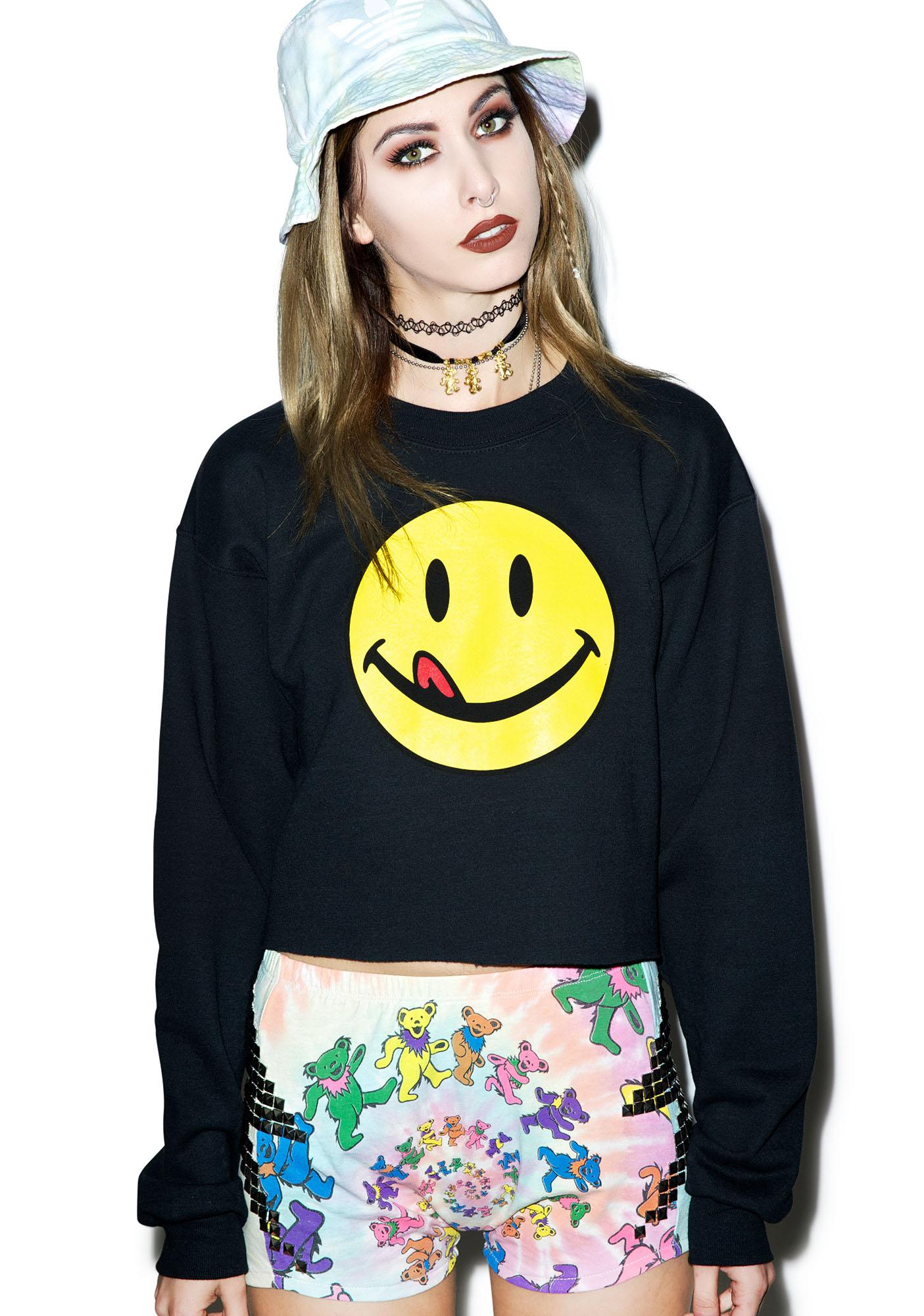 Petals and Peacocks Lickity Split Crop Sweatshirt