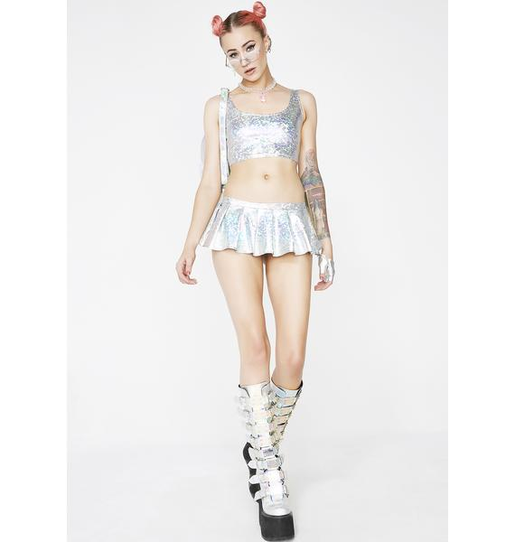 Chrome Party Grl Mini Skirt