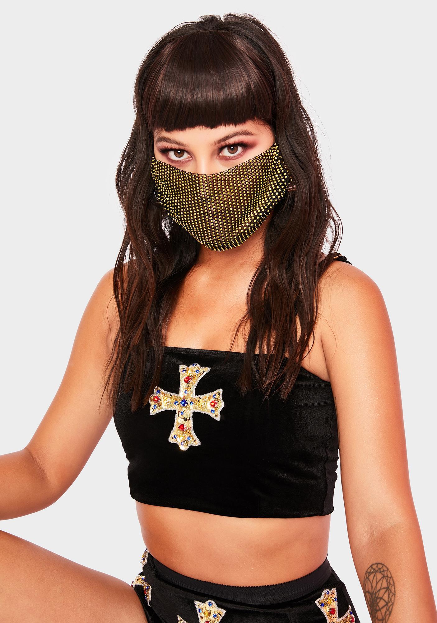 Gilded Keep It Classy Rhinestone Face Mask