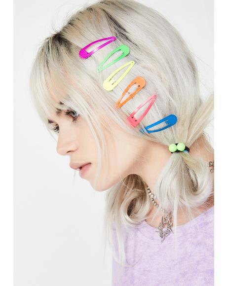 Neon Cutie Hair Clip Set