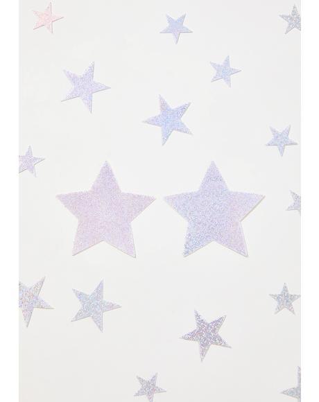 Silver Glitter Stars Pasties Set