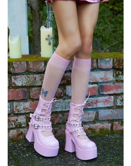 Rose Stay With Me Strapped Buckle Booties