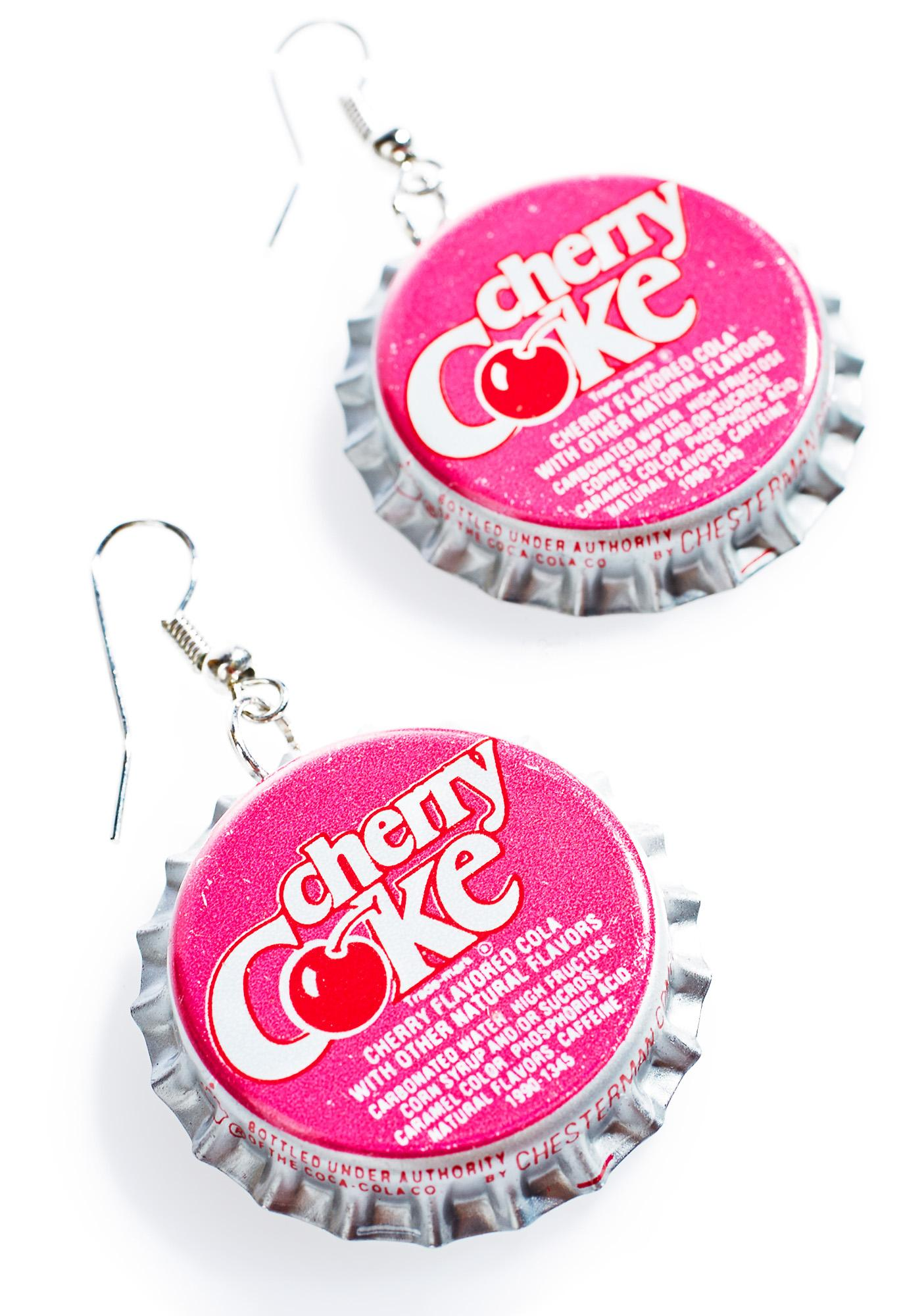 Cherry Bottle Cap Earrings