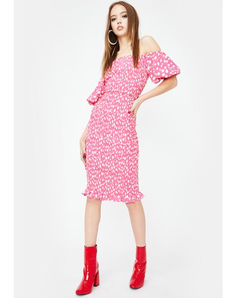 Pink Spot Leopard Smocked Dress