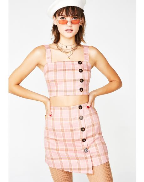 Sweet Line In A Song Plaid Set
