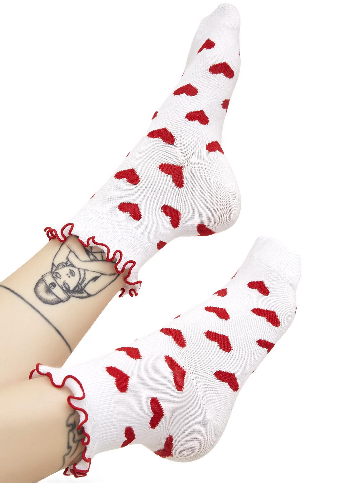 Lazy Oaf Red Hearts Socks
