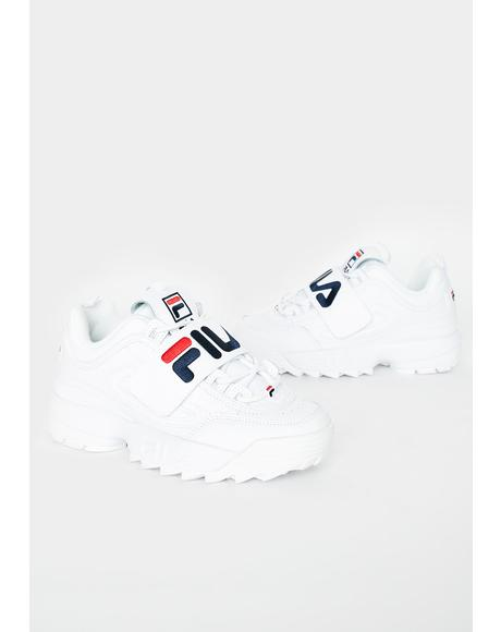 White Disruptor II Applique Sneakers