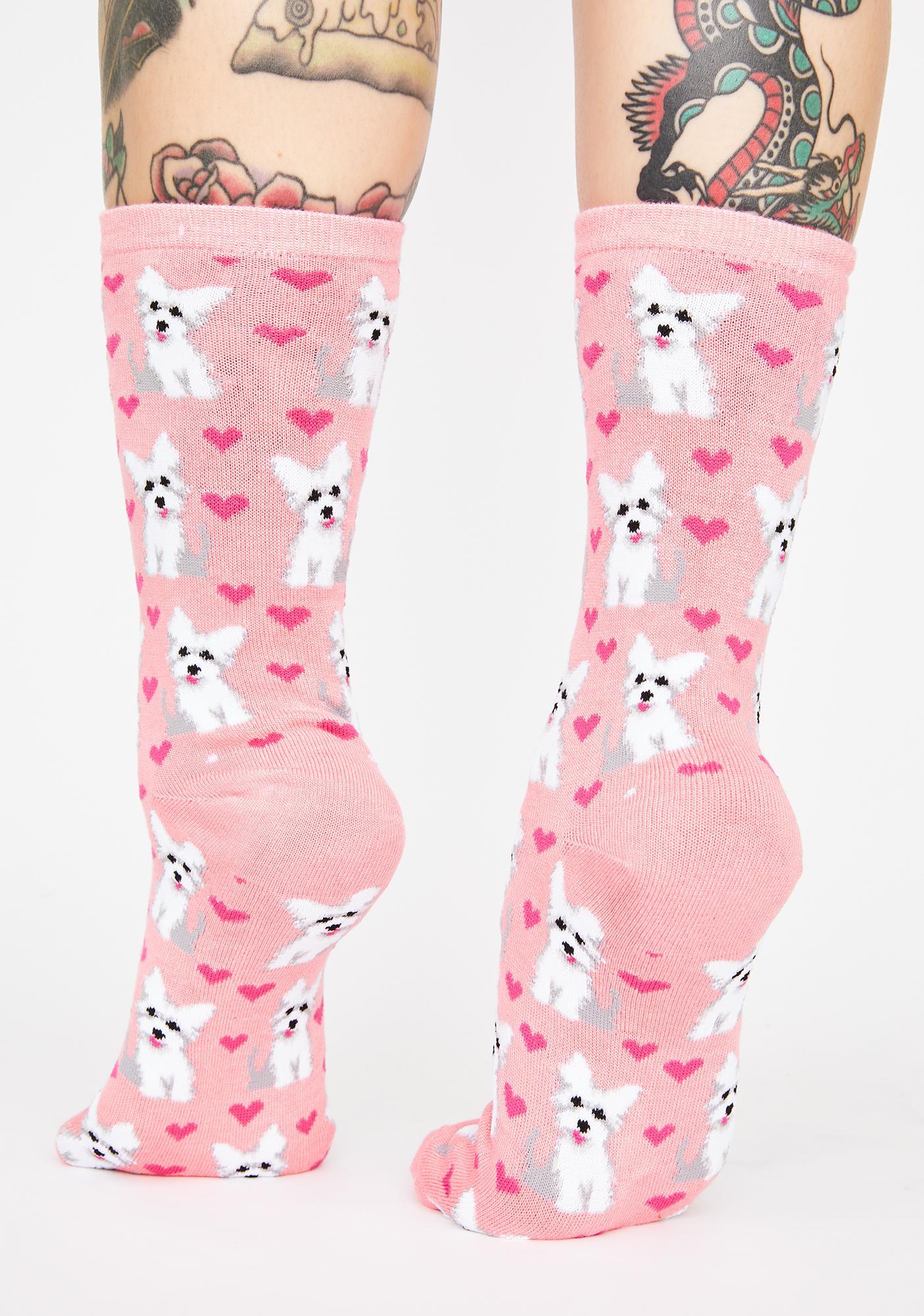 MeMoi Puppy Love Graphic Crew Socks
