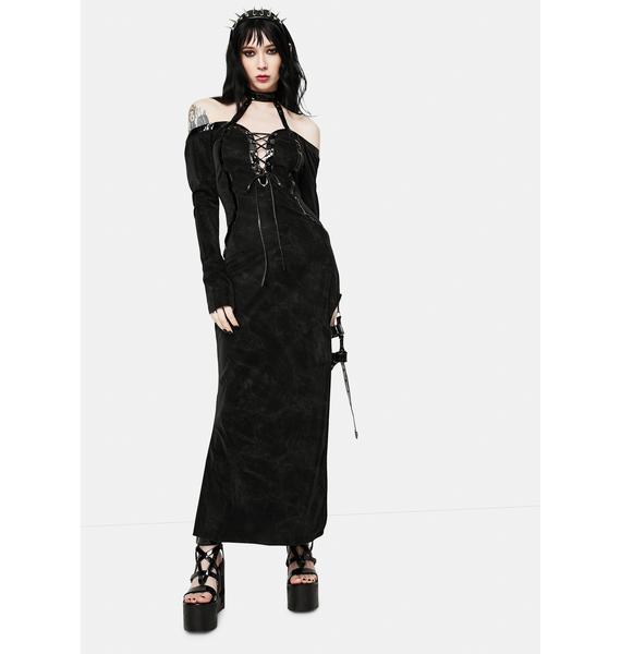 Devil Fashion Lace Up Halter Neck Maxi Dress