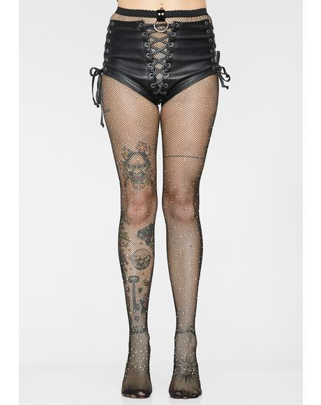 Ring On Rhinestone Fishnet Stockings