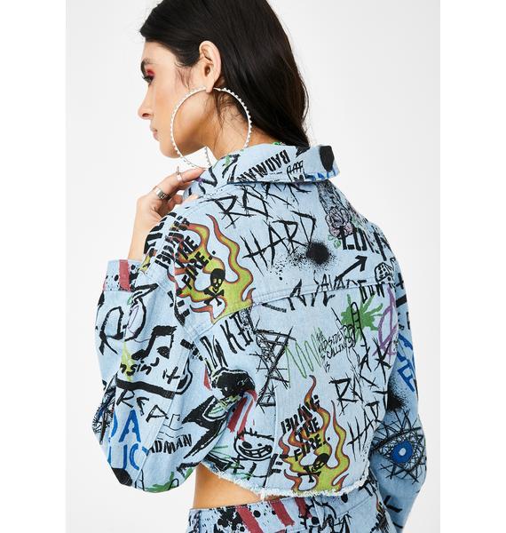 Jaded London Graffiti Print Cropped Denim Jacket