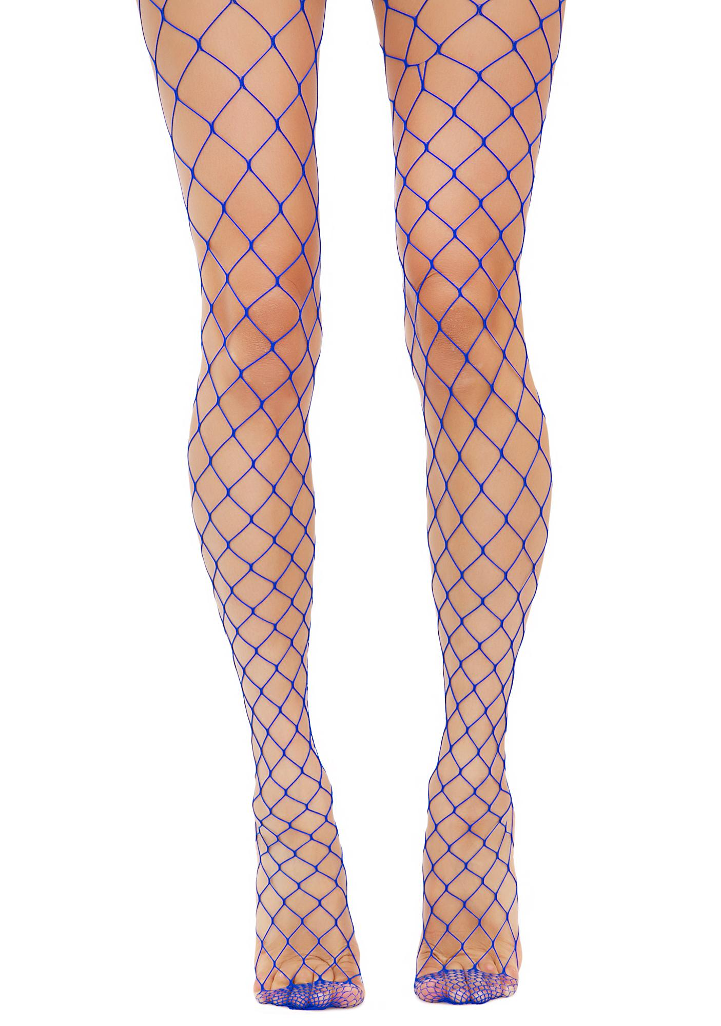 Wide Fishnet Blue Tights | Dolls Kill