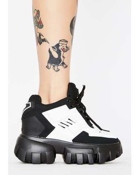 White Psycho Candy Platform Sneakers