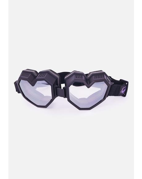 Black Monochrome Heart Goggles