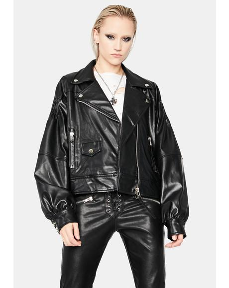 Modern Greaser Puff Sleeve Moto Jacket