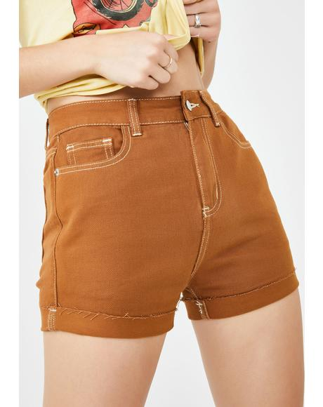 Camel Cuff Denim Shorts